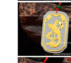 fashion high quality natural jade carved inlay gold dragon or phoenix pendant up-market gift