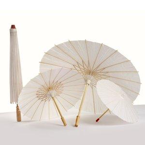 Papel de petróleo Blanco Paraguas China Baile tradicional Apoyos Parasoles Hecho a mano Decoraciones