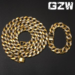 Hip Hop Gold Iced Diamond Cuban Link Chain Long Necklace Bracelet Set Collier Collar Mens Rapper Bling Jewelry Masculina Pulsera for Guys