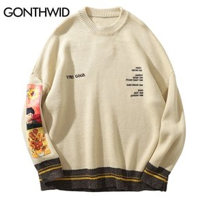 GONTHWID Van Gogh Sleeve Patchwork Pullover Knit Sweater 2019 Mens Hip Hop Embroidery Crewneck Knitwear Sweaters Streetwear Tops Q1110