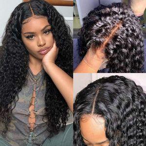 Onda profunda rizada 13x4 encaje pelucas frontales brasileños Virgen humano 360 pelucas de encaje completo para mujeres color natural