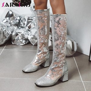 SARAIRIS 2020 New Ladies High Heels Party Boots Fashion Embroider Summer Boots Women Breathable Mesh Knee High Shoes Woman