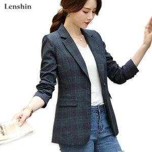 Lenshin Mulheres Elegante Casaco Manta De Manga Longa Gird Blazer De Moda Desgaste Manter Slim Office Lady Coat Outwear Único botão LJ201021