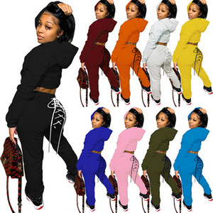 Women designer plain tracksuits hooded leggings crop top 2 piece set 2XL fall winter casual clothing capris bandage pullover pants 4049