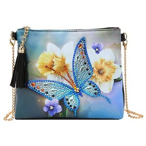 5D DIY Diamond Painting Butterfly Flower Leather Crossbody Chain Bags DIY Diamond Embroidery Bag Wallet
