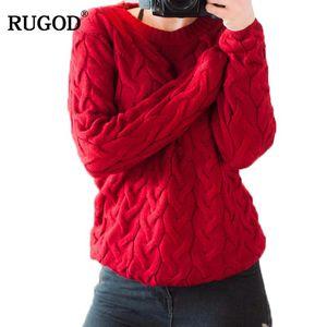 RUGOD Donne 2020 primavera torti Maglione fatto a maglia e pullover Primavera Inverno allentato Maglieria O maniche lunghe Sweter mujer