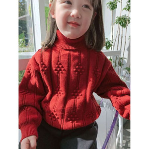 New Clothing Girls '2020 Winter Pullover Ausland SLE Kinder High Collar Base Shirt