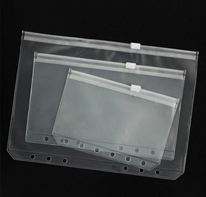 A5 A6 A7 PVC Binder Clear Zipper Storage Bag Book Cover 6 Hole Waterproof Stationery Bags Office Travel Portable Document Sack Wholesale