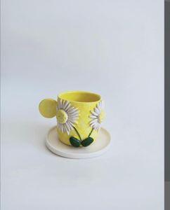 Cerámica decorativa hecha a mano taza de café placa de té creativa de alta calidad tazas de té de alta calidad y base de la base 2020 Trend Q1221