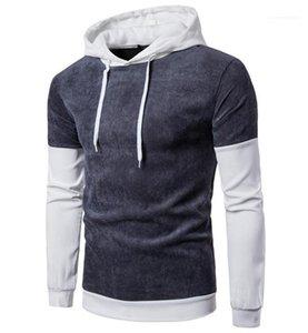 Manica pullover contract color maschio moda top da uomo pannelli con cappuccio designer homme cappello colletto ruga
