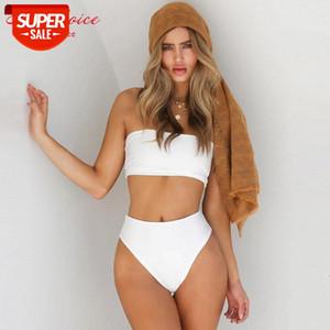 2020 Sexy Bandeau Bikini Swimwear Women High Waist Swimsuit Push Up Bikini Set Brazilian Bathing Suit Biquini Maillot De Bain XL #Ru2a