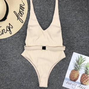 2020 Woman One Piece Swimming Suit Solid Color Bikini With Belt Backless Beach Swimsuits