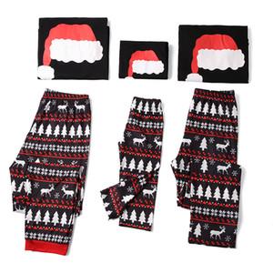 2020 عائلة عيد الميلاد البيجامة الشتوية Homewear قبعة عيد الميلاد مطبوعة الأم والطفل بيجامة لالأم / الأب / طفل
