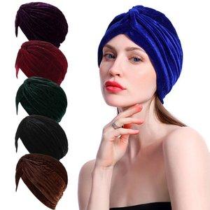 Mütze / Schädelkappen 2021 Donut Turban für Frauen Mützen Hut Islamische Baumwolle Headscarf Weibliche Stirnband Turbaner Muslimische Kappe Chemotherapie