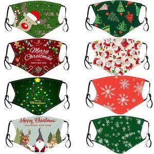 Máscara Máscaras festa de Natal para crianças lavável ajustáveis máscaras de proteção Xmas do floco de neve Papai Noel boneco de neve impresso cobrir a boca