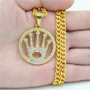 Fashion Alloy Crown Pendant Necklace For Men Women Punk Round Crown Necklace With Diamonds Men Hip Hop Jewelry Accessories