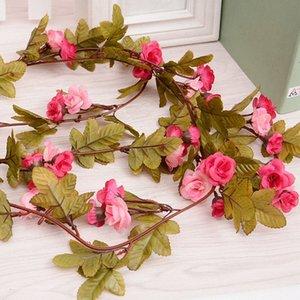 2.3m rosado de seda artificial de Rose de la flor de pared romántica de la boda del arco falso Garland otoño hojas de hiedra decoración del hogar de alta calidad RFA2 #