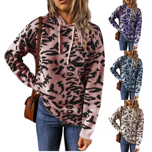 Womens Sweater 2021 New Arrival Fashion Women Knitted Leopard Print Sweaters Stylish Female Hooded Hoodie 7 Colors Size S-3XL