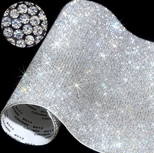 Self-Adhesive Rhinestone Sticker Sheet Crystal Ribbon with Gum Diamond DIY Decoration Cars Phone Cases Cups Accessories 20*24cm NWF2509