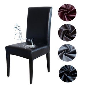 PU Leather Waterproof Oil-proof Chair Covers Spandex Anti-dirty Seat Cover for Dining Room Kitchen Office Party housse de chaise
