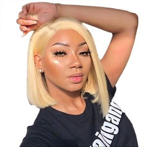 Blond Short Bob Wig Lace Wig Natural Color and Black Lace Front Human Hair