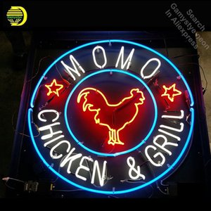 Neon Sign for Momo Chicken in Bethesda Neon Bulbs sign Grill Shop Display Handmade Glass tube neon lights for sale Bar Pub Light