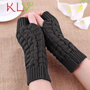 KLV 2020 Half Finger Gloves For Women Winter Warm Wool Knitting Arm Gloves Soft Warm Mittens handschoenen guantes mujer New