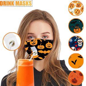 Bebida Máscara Adulto holloween máscara facial Máscara protectora da Protect Cotton Com Furo Para Straw Lavável Dustproof Beba Máscaras Boca Outdoor HH9-3361