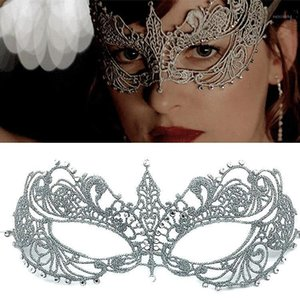 1pc Party Lace LED Mask Half Face Finalizar el aumento de diseño Perforación Sexy Silver Masquerade Mask Helloween Maske Party entregado1