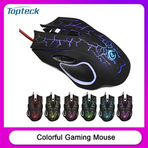 USB Wired Optical Gaming Mouse Colorful Light Gaming Mouse 6-button with Five Adjustable DPI for Desktop Laptop Black