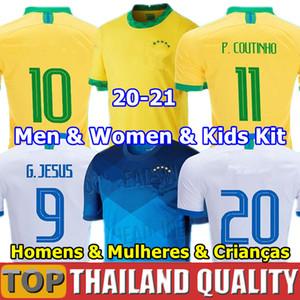 brazil camisetas de fútbol 2020 Brasil conjunto de camiseta de fútbol COUTINHO FIRMINO JESÚS 2021 hombres mujer kit de niños uniformes