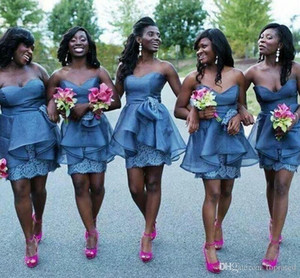 2020 Short African Bridesmaid Dresses Knee Length Lace Organza Sheath Ruffles Backless Maid Of Honor Dress Custom Made Wedding Guest Gown
