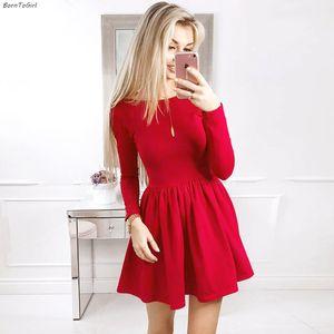 Bordergirl primavera otoño invierno vestido sexy mujeres manga larga redondo cuello redondo rojo vestido robe femme 201008
