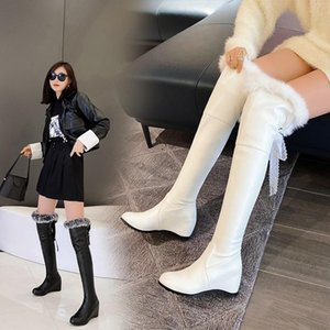 2021 New Ladies Platform Knee High Boots Fashion Slope heel Fur Boots Women Party Office Sexy Woman Big Size 34 -43