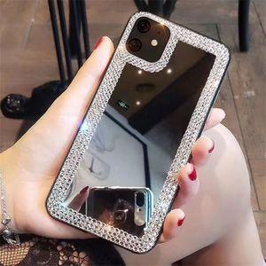 Capa de designers de moda espelho quadrado para iPhone 12 pro max telefone casos coque iphone 11 pro max mini 11 xs xs max 7 8 mais capa de cristal