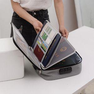 Large Capacity Briefcase Document Bag Passport Wallet Card Organizer Waterproof Storage Pack Business Travel Goods Accessories