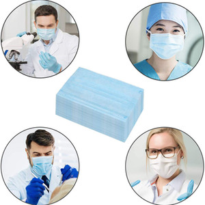DHL Free Shipping Retail Packaging Disposable Blue Melt Blown Cloth Protective Mask Non-woven Mask Dust Mask 3 Layer Protection Spot
