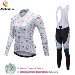 Malciklo 2020 New Thermal Fleece Winter Cycling Clothing Bike Wear MTB Jerseys Cycling Set Jersey Women Skinsuit