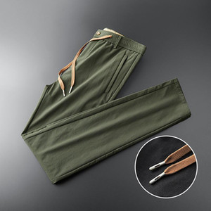 New Style Full Length Elastic Waist Men's Casual Trousers Loose Embroidered Fashion Male Clothing Plus Size M-3XL 4XL 5XL