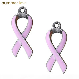 50 Pcs Lot European Breast Cancer Awareness Pink Ribbon Charm For Bracelets & Necklace Jewelry For Women
