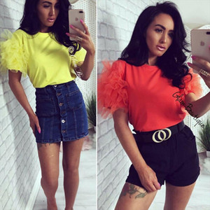 Women Boho Summer Mesh Tulle Beach Ruffle Puff Short Sleeve T Shirt Lady Loose Casual Crop Evening Party Fashion Top Shirt New