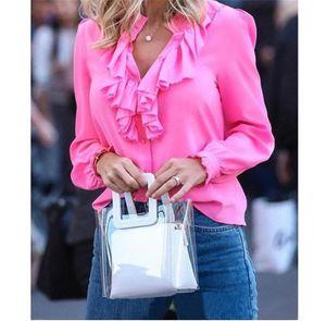 Mode Ruffle Plus Taille T-shirt Femme T-shirt Casual Chiffon V Cou Tops Soild Color Designer Vêtements pour femmes