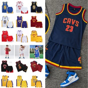 2020 Summer Kids Basketball Shorts Set Team Name Number Letters Print Boys Girls Teens Sleeveless Tracksuit 2 Piece Sets Sport Suits D22001