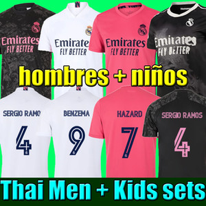 Thai 20 21 maillot de football du Real Madrid SERGIO RAMOS HAZARD BENZEMA 2020 2021 maillots de football football top maillot de football hommes enfants kits