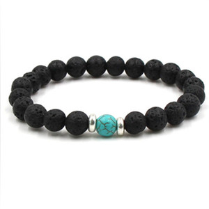 Lava Stone Beads Bracelets Natural Black Essential Oil Diffuser Elastic Bracelet Volcanic Rock Beaded Hand Strings Yoga Chakra men Bracelet