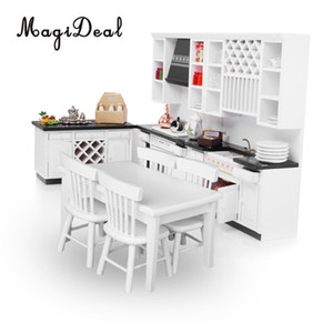 MagiDeal Top Sale 1 12 Scale Dollhouse Miniature Furniture Wooden Delxue Kitchen Set White for Pretend Play Game Toy Best Gift Y200428