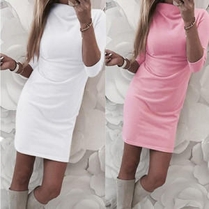 Women Lovely Pink Mini Dress Sexy O Neck Half sleeve Solid Color Ladies Slim Fashion Dresses Turtleneck Lady Bodycon Robe Dress
