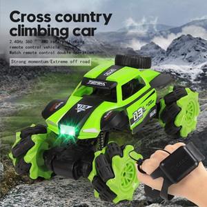 RC Car 01.16 4WD Radio Control Stunt Car Gesture Induction Twisting Geländewagen LED-Licht Klettern Raupen Modell Spielzeug für Kinder