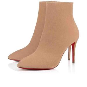 Neue Art und Weise Stilett-Schnürstiefel Plattform High Heels Crochinetta rote untere Frauen-Boot-Marke sexy Kleid spitze Zehe Dame Winterstiefel Partei
