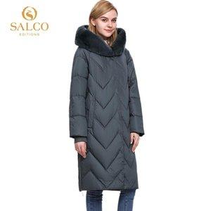 nueva capa de piel real SALCO posterior venta del envío libre de las mujeres de invierno algodón de la perla de la chaqueta de pelo caliente 2020